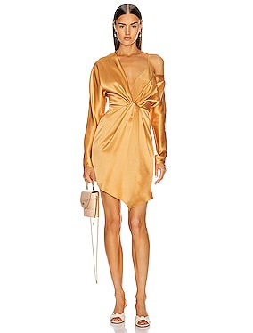 Long Sleeved Cascade Mini Dress