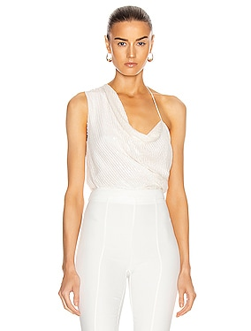 Asymmetrical Draped Tank with Iridescent Paillette Embroidery