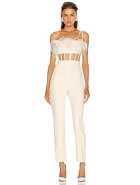 One Strap Feather Corset Jumpsuit
