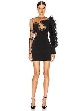 Ruffle Sleeve Snake Lace Mini Dress