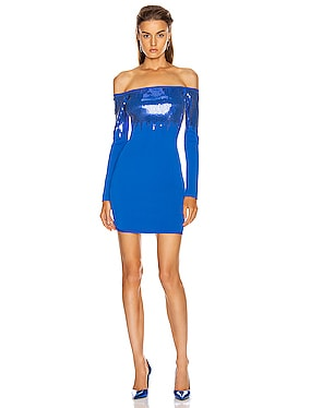 Sequin Off Shoulder Knit Mini Dress