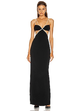 Crystal Chain Trim Bra Detail Gown