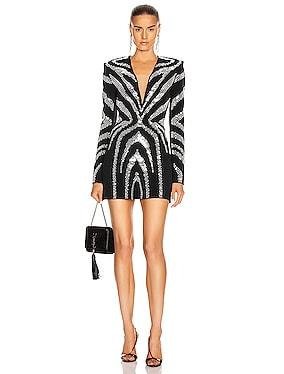 Zebra Plunging Mini Dress