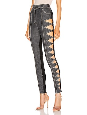 Zig Zag Cutout Denim Legging