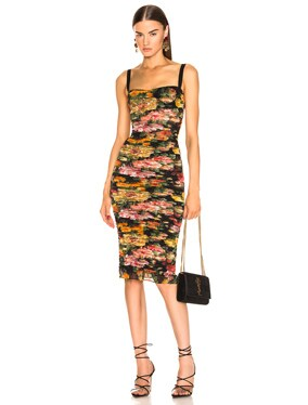 Multi Floral Print Tulle Tubino Dress