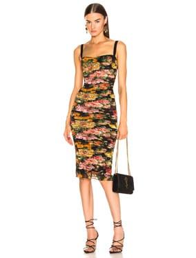 Multi Floral Print Tulle Tubino Dress
