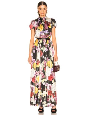 Multi Floral Lurex Short Sleeve Gown