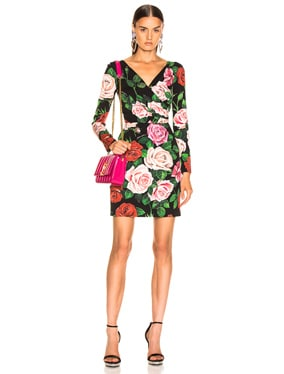 Rose Print Charmeuse Long Sleeve Dress