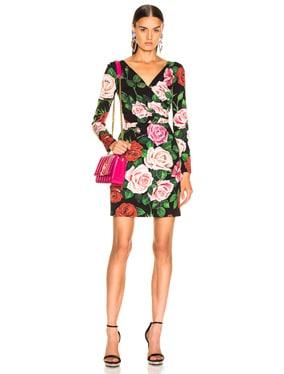 Rose Print Charmeuse Long Sleeve Dress