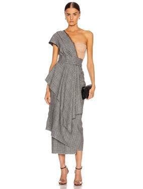 One Shoulder Bustier Asymmetrical Midi Dress