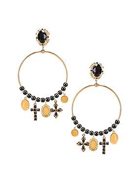 Cross Embellished Hoop Jewel Earrings