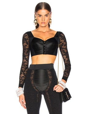 Lace & Satin Long Sleeve Bustier