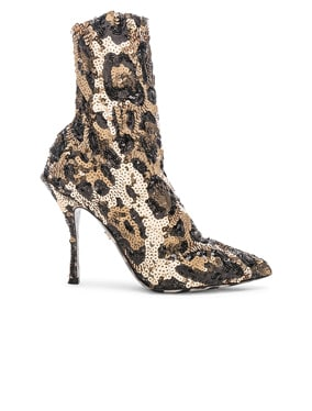 Leo Print Stretch Sequin Booties
