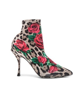Leo Rose Print Sock Booties