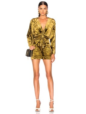 Ruched Printed Velvet Mini Dress