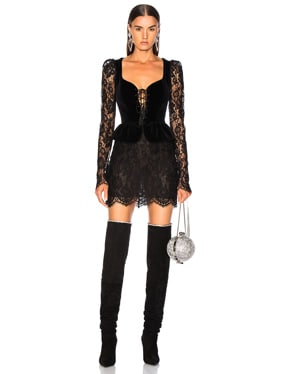 Lace & Velvet Long Sleeve Corset Mini Dress