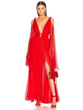 Draped Waist Plunging Gown