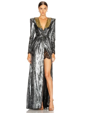 Sequin Deep V Dress