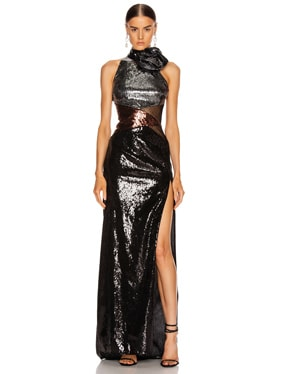Sequin Long Slit Dress