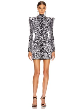 Long Sleeve Leopard Mini Dress