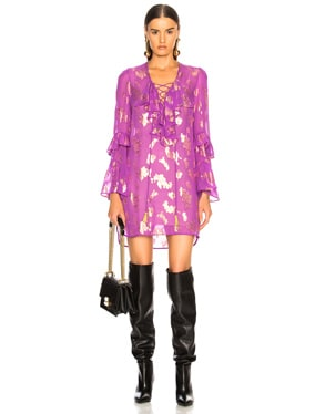 Lace Up Fil Coupe Blouse