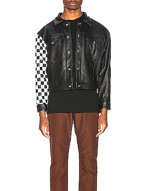 Checkered Sleeve Leather Jacket