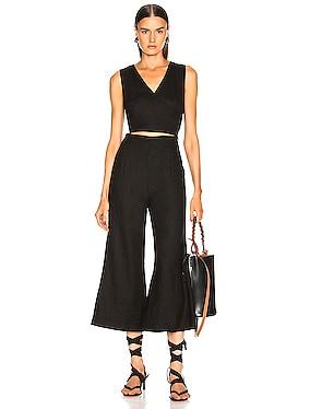 Linen Wrap Front Jumpsuit