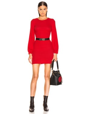 Rib Volume Sleeve Mini Dress