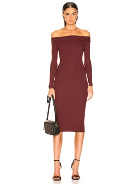 Rib Exposed Shoulder Midi Dress