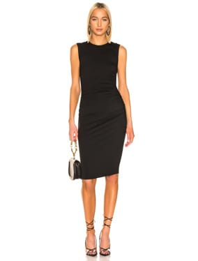 Side Ruched Muscle Midi Dress