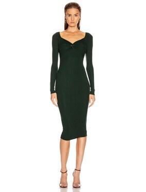 Rib Off Shoulder Twist Midi Dress