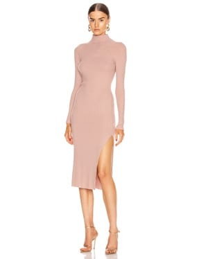 Brushed Rib Long Sleeve Raglan Midi Dress