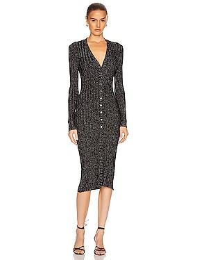 Lurex Rib Long Sleeve Cardigan Midi Dress