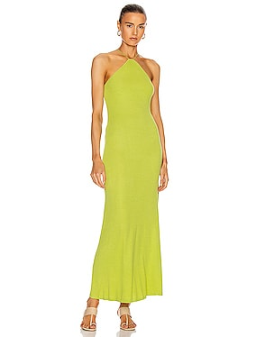 for FWRD Silk Rib Halter Fitted Ankle Dress