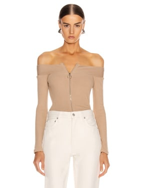 for FWRD Rib Exposed Shoulder Zip Front Long Sleeve