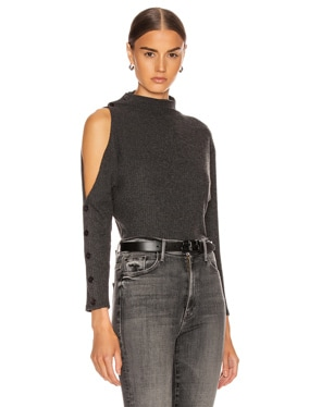Rib Long Sleeve High Neck Exposed Shoulder Top