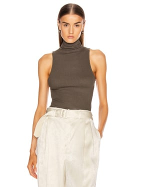 Rib Sleeveless Turtleneck