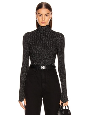 Lurex Rib Cropped Turtleneck Top