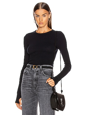 Cashmere Thermal Long Sleeve Cuffed Crew Top