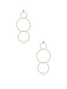 14K Gold Pearl Ring Drop Earring