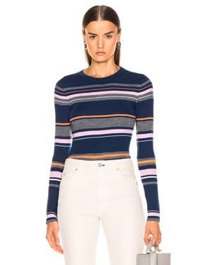 Panel Stripe Crew Sweater