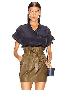 Silk Flounce Short Sleeve Top