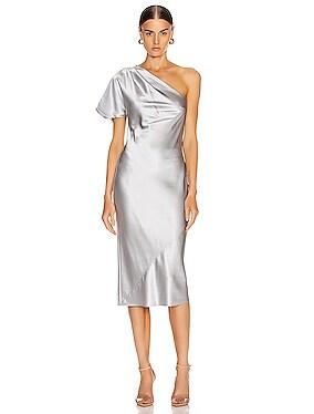 One Shoulder Bias Slip Dress
