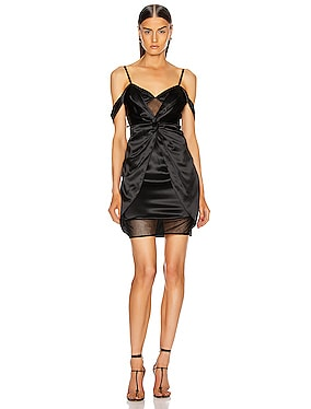 Silk Mesh Draped Slip Dress
