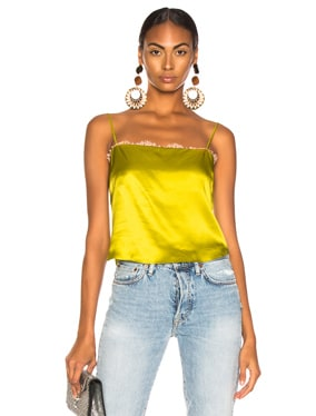 Straight Neck Cami With Lace Trim