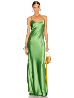 Satin V Neck Slip Dress