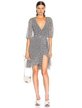 Printed Mesh Wrap Dress
