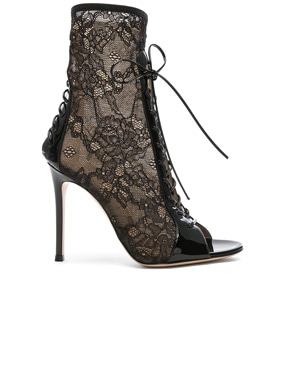 Lurex & Patent Loulou Lace Up Ankle Boots
