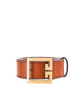 Flat Grained Logo Leather Belt