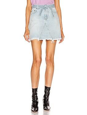 A Line Denim Mini Skirt